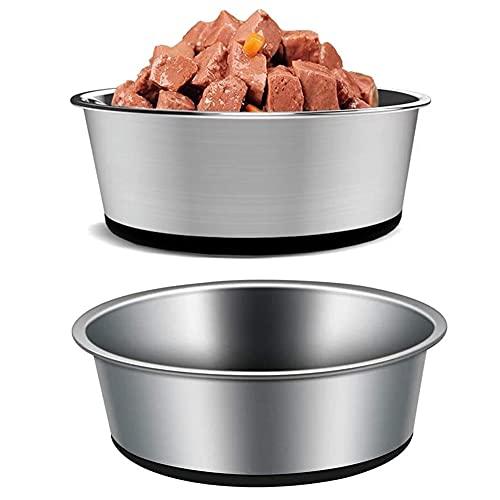 Ciotola per cani in acciaio inox con fondo in silicone, antiscivolo, ciotola impilabile per cani, per gatti, piccoli, medi e grandi (2 confezioni da 22 cm, 1750 ml, nero)