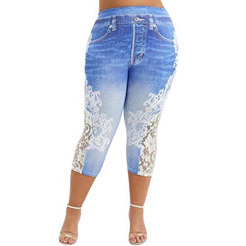 Xmiral Hosen Damen Spitze Nähen Unecht Jeans Große Größe Legging Caprihose Freizeithose Elastische Taille Jogginghose(Hellblau,XXL)