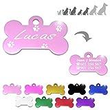 Hueso para Mascotas pequeñas-Medianas con Patas Placa Chapa Medalla de identificación Personalizada para Collar Perro Gato Mascota grabada (Rosa)