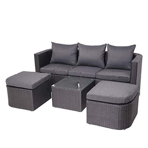 Mendler 3in1-Garnitur HWC-J37, Garten-/Lounge-Set Sonneninsel, Spun Poly halbrundes Poly-Rattan - anthrazit, Kissen dunkelgrau
