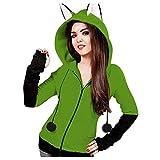 Mujer Sudadera con Capucha y Cremallera Completa de Manga Larga Monocolor Chaqueta Otoño Invierno Deportiva Largo y Grueso Moda Abrigos (Verde,4X-Large)
