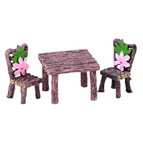 Cratone Tisch und Stuhl für Miniatur-Feengarten, Dekoration, DIY, Zubehör, Mikro-Landschaft, Puppenhaus, Blumentopf, Sukkulenten, B, 2.2*4.1cm