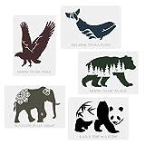 CODOHI 5 Packs Wilde Tiere Schablonen - B?r Panda Wal Adler Elefant Worte Natur Tiere Schablonen A4...