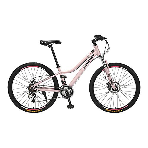 Bicicleta, bicicleta de montaña de 24 velocidades, bicicleta de doble choque, con marco de acero de alto carbono y ruedas de 26 pulgadas, para mujeres y adolescentes, fácil de instalar, antidesli