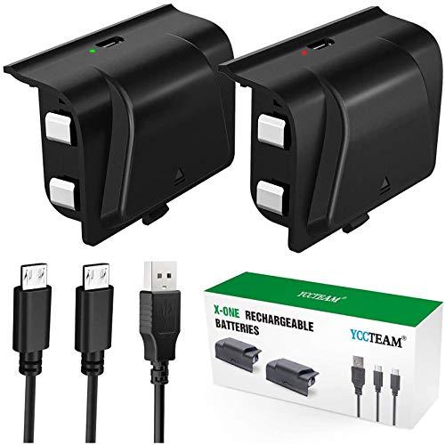 Xbox One Akku Pack 2 x 1200 mAh Xbox One Controller Akku mit 1,2 m Micro USB-Kabel und LED Ladeanzeige für Xbox One / S / X / Elite Wireless Controller