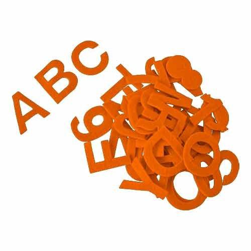 Alphabet gommettes en feutre acrylique, autocollant, env. 5 cm, orange - lot de 80 pièces