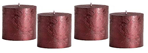 Rustic 4 Kerzen Metallic Bordeaux 7 x 7 cm Candle