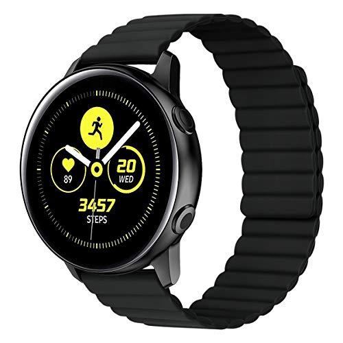 MroTech Compatible con Samsung Galaxy Active/Active2 40mm/44mm/Galaxy Watch 3 41mm/Galaxy 42mm Correa 20mm Silicona Pulseras Repuesto para Huawei Watch GT 2 42 mm Banda con Hebilla Magnética-Negro