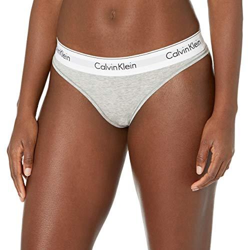 Calvin Klein Modern Cotton Thong Panty Bragas de Tira, Gris, L para Mujer