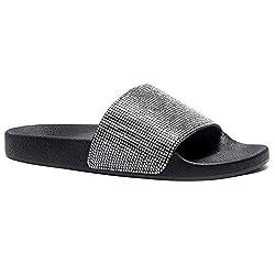 Rhinestone Glitter Black Slide Slip On Mules Summer Shoe