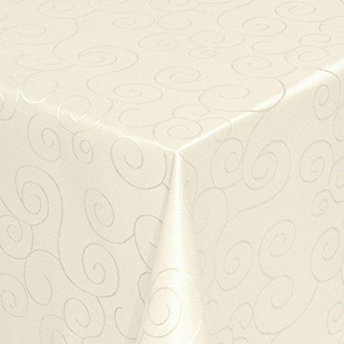 Kringel/Circle Tafeldecke Form, Größe & Farbe wählbar- Eckig 110 x 180 cm - Champagner Damast Tischdecke