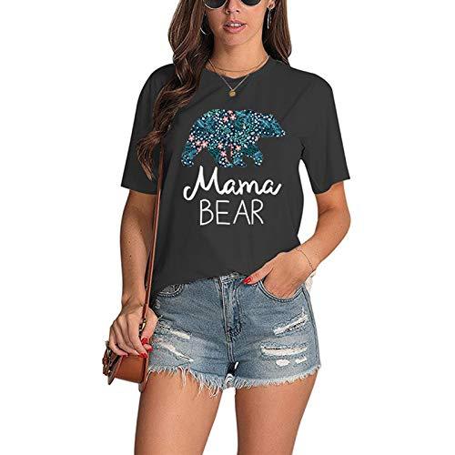 Camiseta de manga corta con cuello redondo para mujer, diseño de letra de Mama Bear