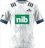 DSDFD 2021 Le Maillot de Rugby des Blues de Nouvelle-Zélande Maillot de Rugby brodé Homme Femme, Grande Taille (S~XXXXXL) White XXXL