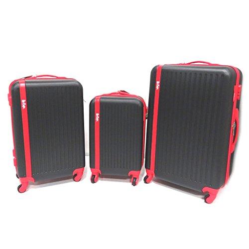 Juego de 3 maletas trolley abs 'Lee Cooper'negro rojo (55/65/75 cm).
