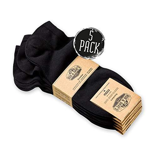 Rob & Dave's Sneaker Socken - 5 Paar - 35/38 - Schwarz - OEKO-TEX Qualität - rutschfeste unisex Knöchelsocken in schwarz & weiß - ohne drückende Naht - Komfortbund