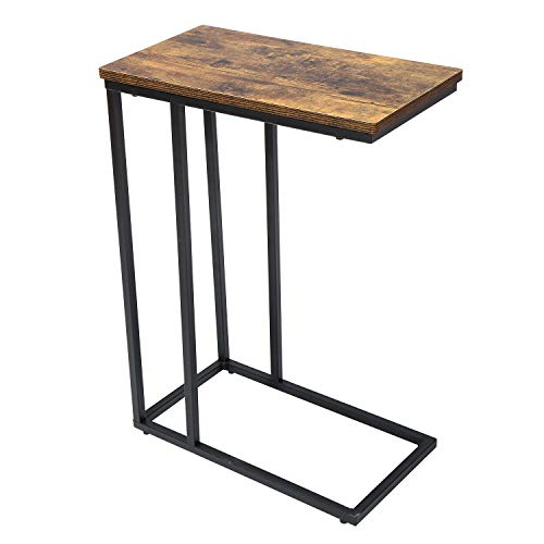 UMI. by Amazon Side Table, End Table for Living Room, C Shaped Table with Stable Metal Frame, Sofa Table for Coffee Snack Laptop, Easy Assembly,Rustic Brown