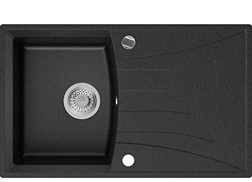 Granitspüle Graphit 77 x 47 cm, Spülbecken + Siphon Automatisch, Küchenspüle ab 45er Unterschrank in 5 Farben mit Siphon und Antibakterielle Varianten, Einbauspüle von Primagran