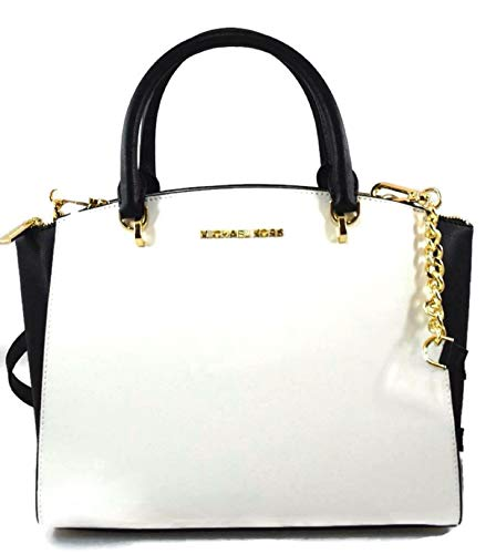Style: Ellis Color: Optic White/Black Dimension: 13 in (Width) x 9 in (Height) x 5 in (Depth) Depth) Handles are 4.5 inches drop. Double handles. A longer, detachable, adjustable crossbody shoulder strap is included.