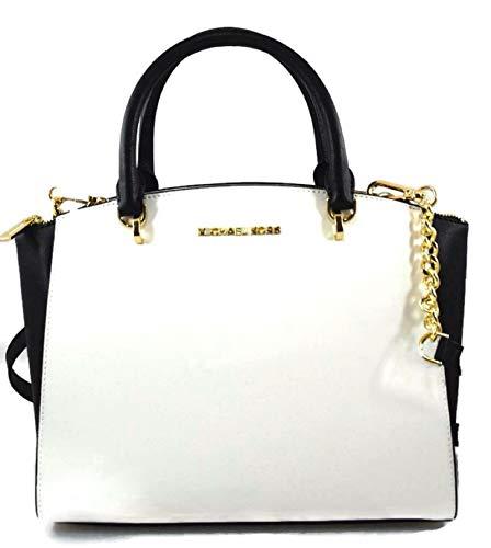 MICHAEL Michael Kors Ellis Optic White Black Satchel Shoulder Tote Handbag