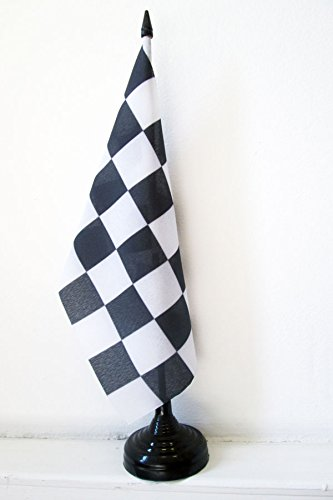 AZ FLAG Drapeau de Table Damier Noir et Blanc 21x14cm - Petit Drapeaux DE Bureau à damiers - Course Automobile - Formule 1 14 x 21 cm