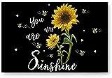 Zerbini per ingresso porta, girasole You are My Sunshine nero giallo, camera da letto/cucina/ingresso tappetino, tappetino multiuso, antiscivolo basso profilo (30,5 x 51,8 cm)