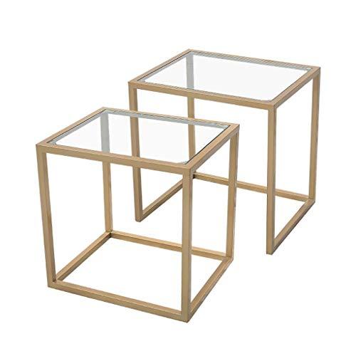 N/Z Tägliche Ausstattung Tische Schreibtisch Couchtisch Nordischer einfacher Beistelltisch Tischplatte aus gehärtetem Glas + schmiedeeiserner Rahmen Schlafzimmer Wohnzimmer Ecktisch