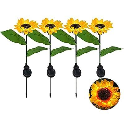 JHBOX Garden Decor Solar Sunflower Lights Outdoor 4 Pack, Solar Garden Lights Outdoor Decorative, Flower Garden Stake Backyard Decor Yard Decorations