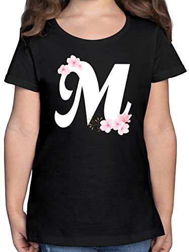 Anfangsbuchstaben Kind - Buchstabe M mit Kirschblüten - 164 (14/15 Jahre) - Schwarz - Shirt Buchstaben m - F131K - Mädchen Kinder T-Shirt