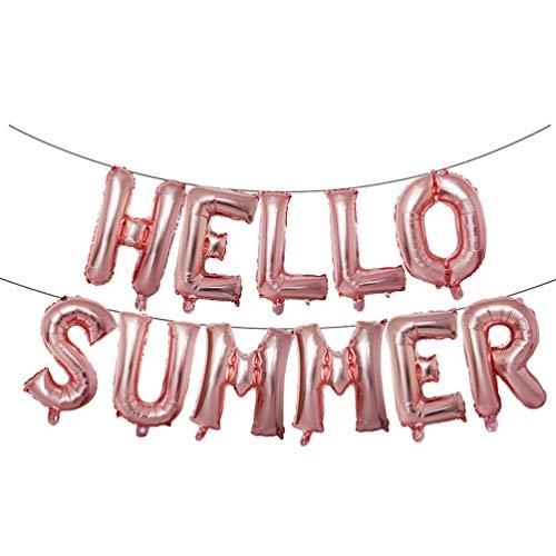 PRETYZOOM Globos de letras de color oro rosado, globos de verano, globos metalizados de tereftalato de polietileno, para graduación tropical hawaiana, aniversario, fiesta, decoración