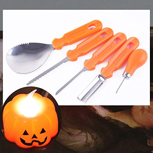 Professional Pumpkin Carving Tool Kit 5 Pieces, Sturdy Stainless Steel Carving Kit, Heavy Duty Pumpkin Carving Tool for Kids Adult Halloween Party Favors Supplies