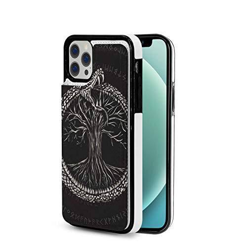 KAIXIN Ouroboros Mit Baum Des Lebens Schwarz - Funda para iPhone 12 (piel sintética, cierre magnético, tapa blanda), color negro