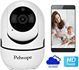 Pelwope Home Security Camera Indoor, 1080p HD WiFi IP Camera with Motion Tracker, Nanny Smart Camera with Night Vision APP Remote Control for Baby-, Elder-, Pet Monitor