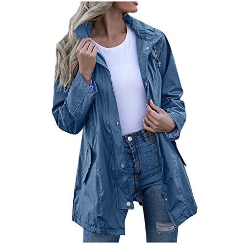 JUTOO Frauen Kapuze wasserdicht Reißverschluss Mid-Länge Winddichte wasserdichte Regenmantel Jacke (Blau,XXL)