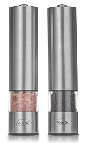 Electric Lerutti Salt and Pepper Grinder Set - Battery Operated Stainless Steel Grinders (Pack of 2) - Automatic Mills with LED Light and Caps at Bottom - Electronic Adjustable Shakers