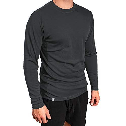 Alpin Loacker Bio Merino Shirt Langarm | 100% Merinowolle Sweatshirt Herren | wärmeregulierendes Langarmshirt für Männer Sport & Freizeit | Grau Größe M