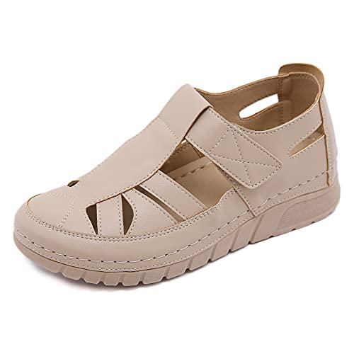 Lamoy Sandalias De Cuero Suave para Mujer Zapatos Planos Cómodos Sandalias De Verano con Punta Cerrada Y Huecos Antideslizantes-Brown||37