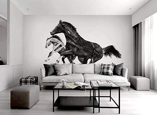 """3D Zwart-Wit Paard WG0521 Behang Afdrukken Decal Deco Binnen Muur Muurschildering Zelfklevend Behang AJ WALLPAPER NL Muzi (Vinyl (geen lijm en verwijderbaar), 【 82""""x58""""】208x146cm(WxH))"""