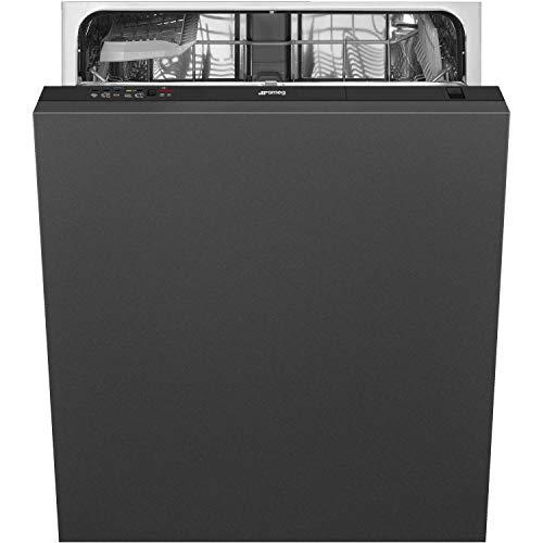 Smeg DI12E1 totalmente integrado lavavajillas estándar, panel de control negro con kit de fijación de puerta fija, clasificación A+