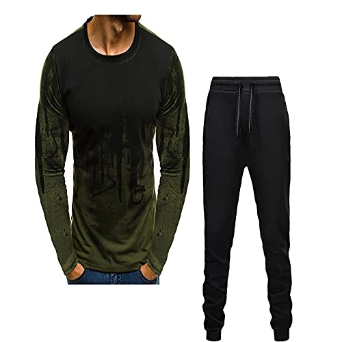 ZZOU Sport Suit Men Long Sleeve Running Sets Gym Yoga Suit Fitness Sportswear Men's Fashion Tracksuits, Jogging Suits, Gym Wear Casual Wear Men's Slim Fitting Pullover Tracksuit Hoodie Joggers