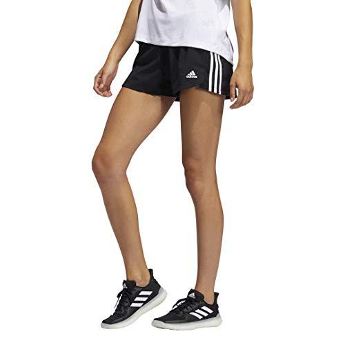 adidas,womens,Pacer 3-Stripes Woven Shorts,Black/White,Medium