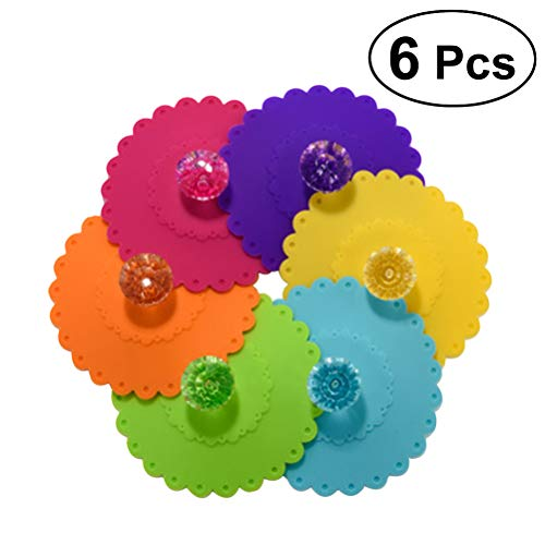 OUNONA 6 St¨¹cke 10,5 cm Blume Tasse Deckel Staubdicht Becher Abdeckung Silikon Getrnk Deckel (zufllige Farbe)