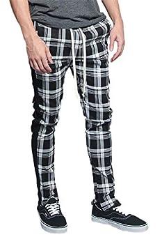Men s Plaid Checkered Tartan Outer Side Stripe Inseam Ankle Zipper Drawstring Premium Track Pants TR537 - Black - Medium - JJ5E