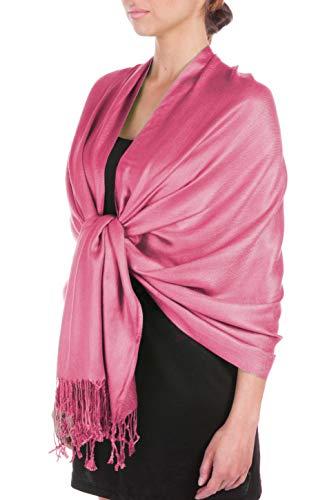 Sakkas Large Weiche seidige Pashmina Schal Wrap Schal Stola in festen Farben - Dusty Pink