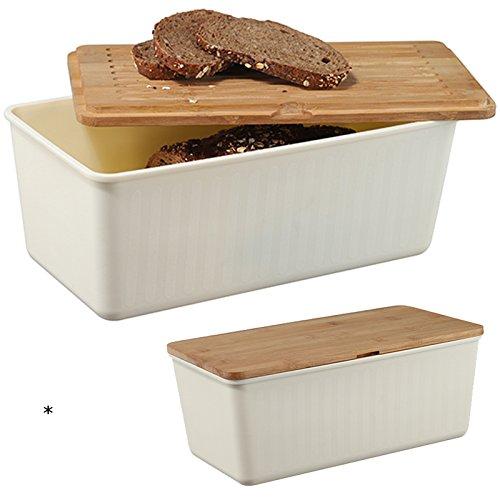 Brotkasten mit Bambus-Schneidebrett 34x18x13cm - 34x18 Brotkorb Brotdose Brot Brötchenkorb Holz Schneidebrett Rechteck