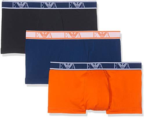 Emporio Armani Underwear Herren 3 Pack Trunk Colored Basics Monogram Badehose, Blau (Marine/Bluette/ARANC 58535), Small (Herstellergröße:S)