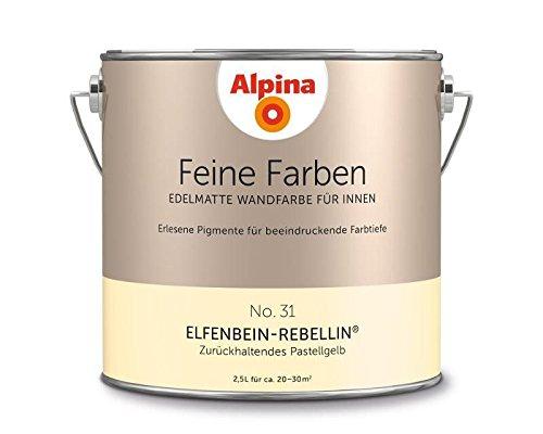 Alpina 2,5 L. Feine Farben, Farbwahl, Edelmatte Wandfarbe für Innen (No.31 Elfenbein-Rebellin - Zurü