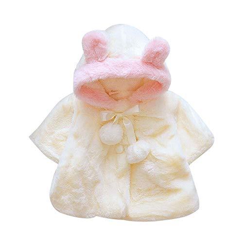 Baby Mädchen Winterjacke Daunenmantel Fleece Warm Winter Coat Mantel Jacke Dicke Kleidung Kap Mantel Poncho Faux Pelz Cape Cloak Outwear (70-100)