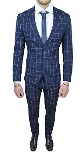 Abito Completo Uomo Sartoriale Smoking Vestito Elegante Cerimonia (46, Blu a Quadri)