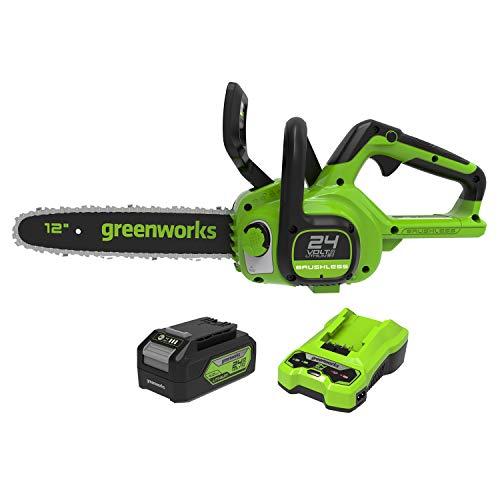 Greenworks G24CS30 Motosierra eléctrica con batería, Li-Ion 24V velocidad de corte 7,8m/s longitud de sable 30cm lubricación automática depósito de aceite de 160 ml con batería 4Ah & cargador