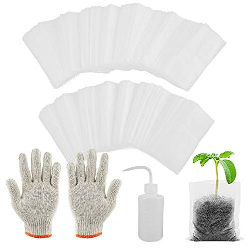 200PCS Nonwoven Fabric Planting Bag, Reusable Plant Grow Bags Transparent Garden Plant Growing Pots Outdoor Planter Bags with A Pair of Gloves and A Drip Bottle for Plant Growth